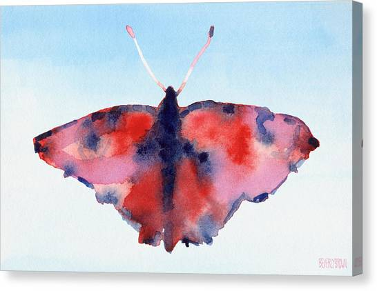 Laundry Canvas Print - Butterfly Red And Blue Watercolor Painting by Beverly Brown Prints
