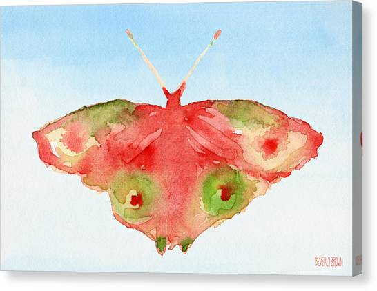 Laundry Canvas Print - Butterfly Red And Green Watercolor Art Print by Beverly Brown Prints