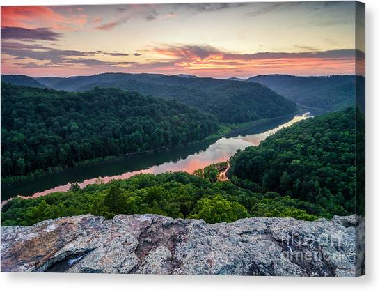 Big South Canvas Print - Buzzard Rock Twilight by Anthony Heflin