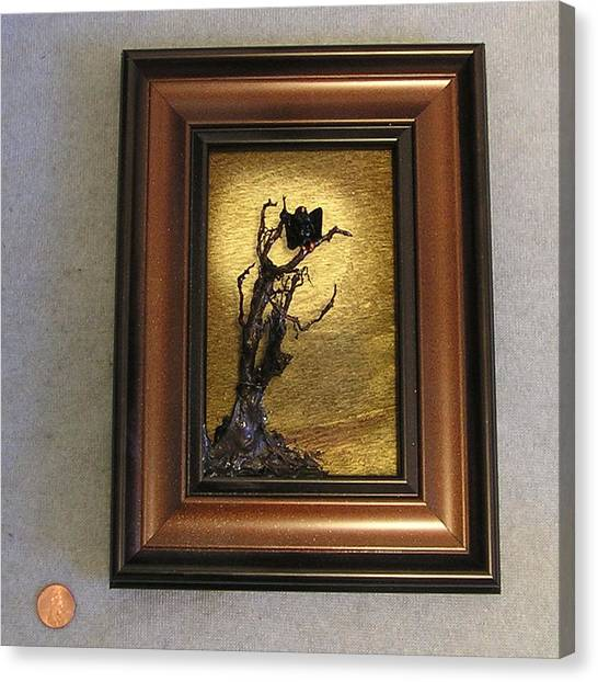 Buzzard With Gold Sun Canvas Print