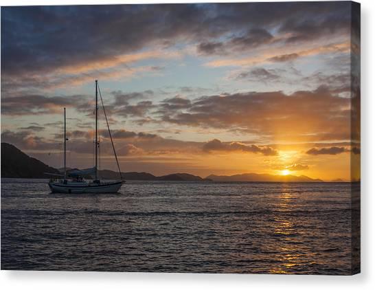 John Boats Canvas Print - Bvi Sunset by Adam Romanowicz