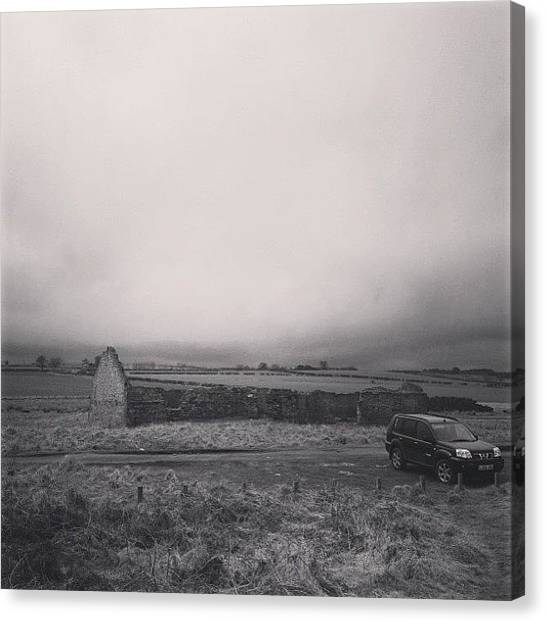 Offroading Canvas Print - #bw #blackandwhite #monochrome #ruin by Jamie Hewison