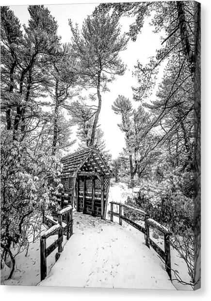 Bw Covered Bridge In The Snow Canvas Print