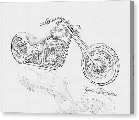 Pencil Drawing Motorcycle Canvas Print - Bw Gator Motorcycle by Louis Ferreira