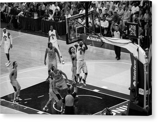 Basketball Teams Canvas Print - Bw Lebron Layup by Steven Hanson