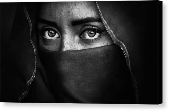 Muslim Canvas Print - Bw Portrait by Mikhail Potapov