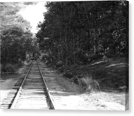 Bw Railroad Track To Somewhere Canvas Print