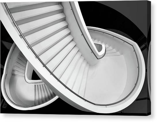 Museums Canvas Print - B&w Staircase by Henk Van Maastricht