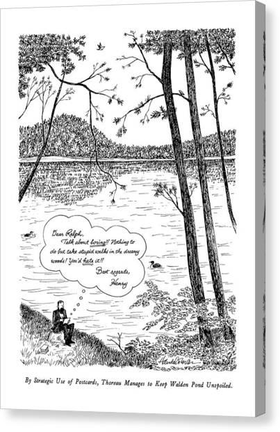 Walden Pond Canvas Print - By Strategic Use Of Postcards by J.B. Handelsman