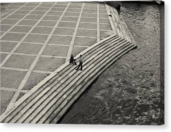 By The Banks Of Seine Black And White Canvas Print