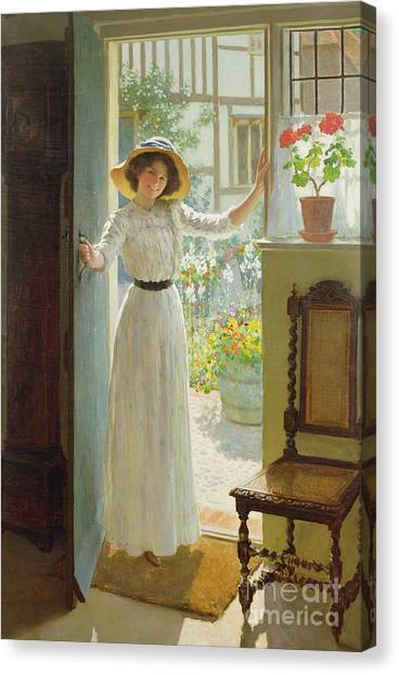 Cottage Style Canvas Print - By The Cottage Door by William Henry Margetson
