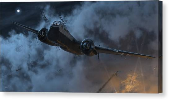 Wwi Canvas Print - Nightfighter by Robert Perry