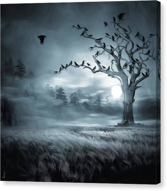 Under The Moon Canvas Print - By The Moonlight by Lourry Legarde