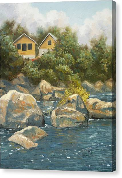 Quebec Canvas Print - By The River by Lucie Bilodeau