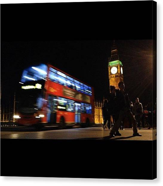 Parliament Canvas Print - Big Ben Night Bus by Raena
