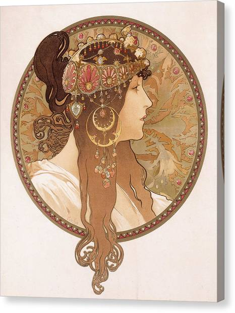 Byzantine Art Canvas Print - Byzantine Head Of A Brunette by Alphonse Marie Mucha