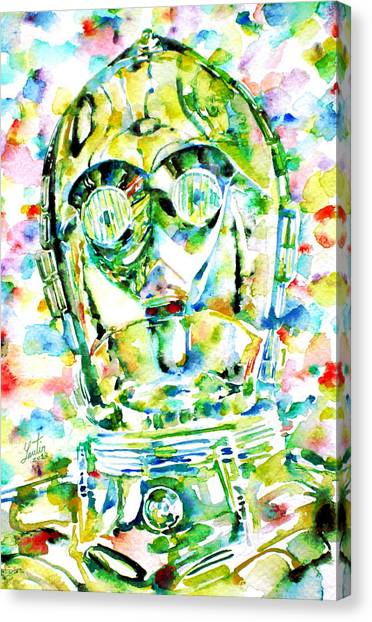 C-3po Canvas Print - C-3po Watercolor Portrait by Fabrizio Cassetta