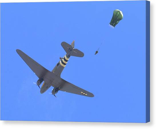 C47 Paratrooper Drop At Salinas Airshow Canvas Print