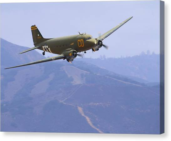 C47 Skytrain Fly-by At Salinas Air Show Canvas Print