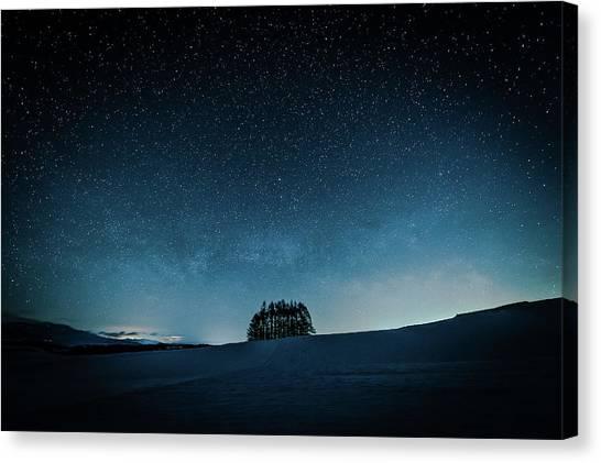 Winter Sky Canvas Print - Cabbage Field by Teruo Araya