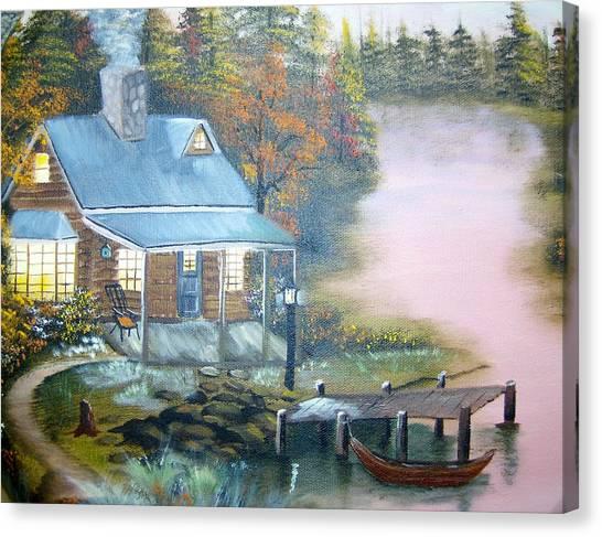 Cabin At The Lake Canvas Print