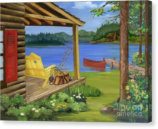 Canoe Canvas Print - Cabin By The Lake by Paul Brent