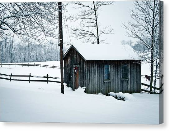Cabin In Snow Canvas Print by Nickaleen Neff