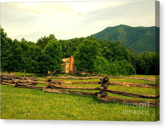 Cabin In The Meadow Canvas Print