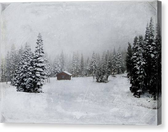 Cabin In The Woods-textured Canvas Print