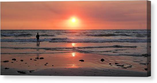 Cable Beach At Sunset With Figure Canvas Print