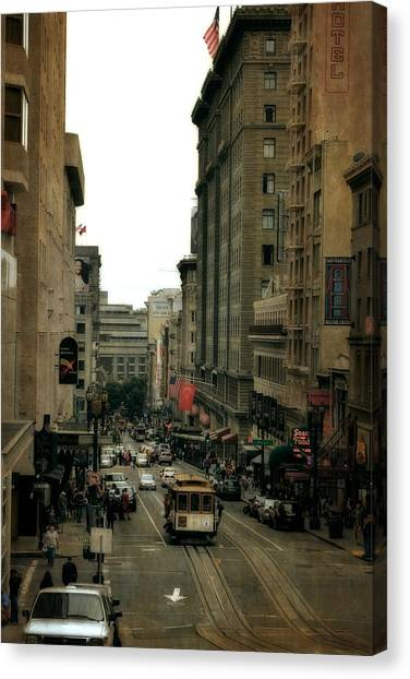 Cable Car In The City Canvas Print