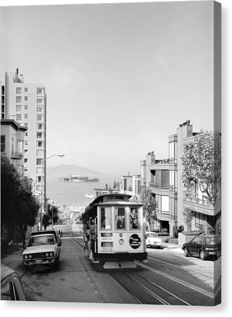 Alcatraz Canvas Print - Cable Car On Hyde Street Hill by Underwood Archives