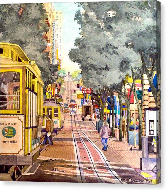 Cable Cars On Powell Street Canvas Print