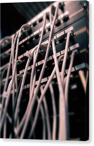 Computer Science Canvas Print - Cables In Server Room by Mark Sykes
