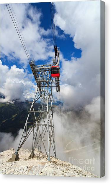 cableway in Italian Dolomites Canvas Print