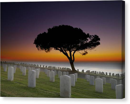 Graveyard Canvas Print - Cabrillo National Monument Cemetery by Larry Marshall