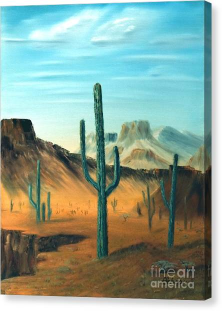 Cactus And Mesa Canvas Print by Stephen Schaps