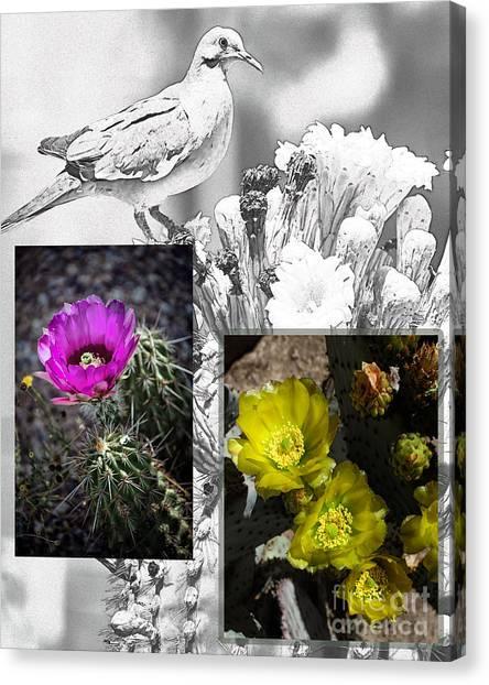 Cactus Flowers 01 Canvas Print by David Mendoza