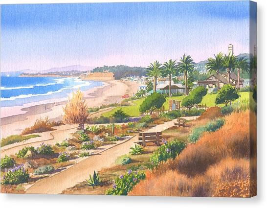 Benches Canvas Print - Cactus Garden At Powerhouse Beach by Mary Helmreich