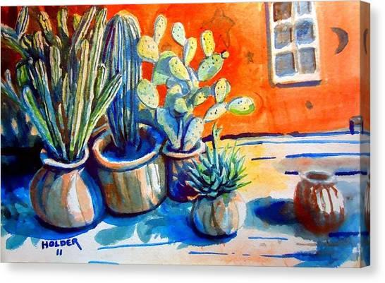 Cactus In Pots Canvas Print
