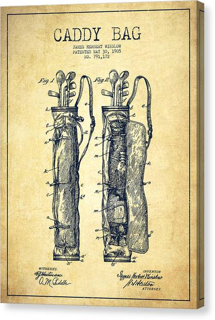 Golf Canvas Print - Caddy Bag Patent Drawing From 1905 - Vintage by Aged Pixel