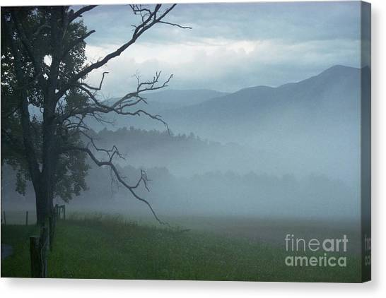 Cades Cove Fog Sunrise Canvas Print