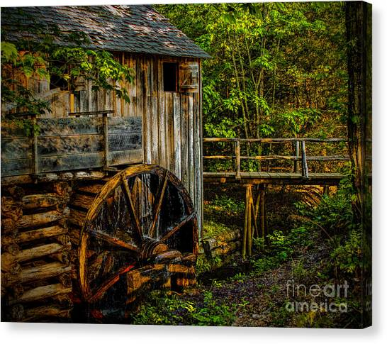 Cades Cove Mill Painted Canvas Print
