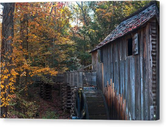 Smokey Mountains Canvas Print - Cades Cove Mill by Steve Gadomski