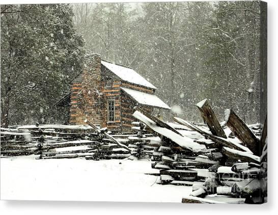 Cades Cove - Snowy Cabin Canvas Print