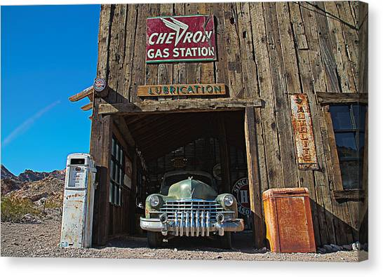 Cadillac In A Chevron Station 5 Canvas Print