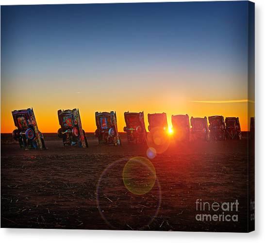 Cadillac Ranch Sunset Canvas Print