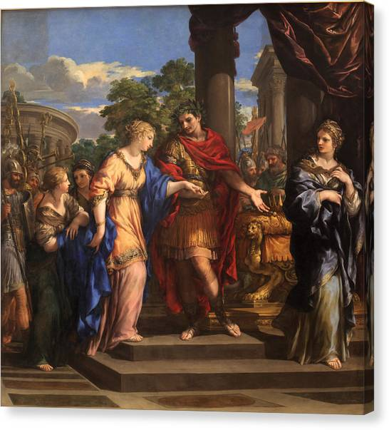 Baroque Art Canvas Print - Caesar Giving Cleopatra The Throne Of Egypt, C.1637 Oil On Canvas by Pietro da Cortona
