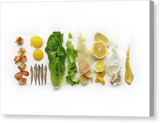 Caesar Salad Ingredients Canvas Print by Lew Robertson