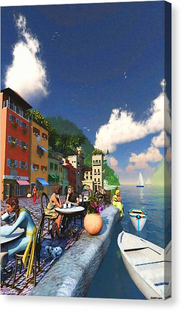 Cafe By The Sea Canvas Print